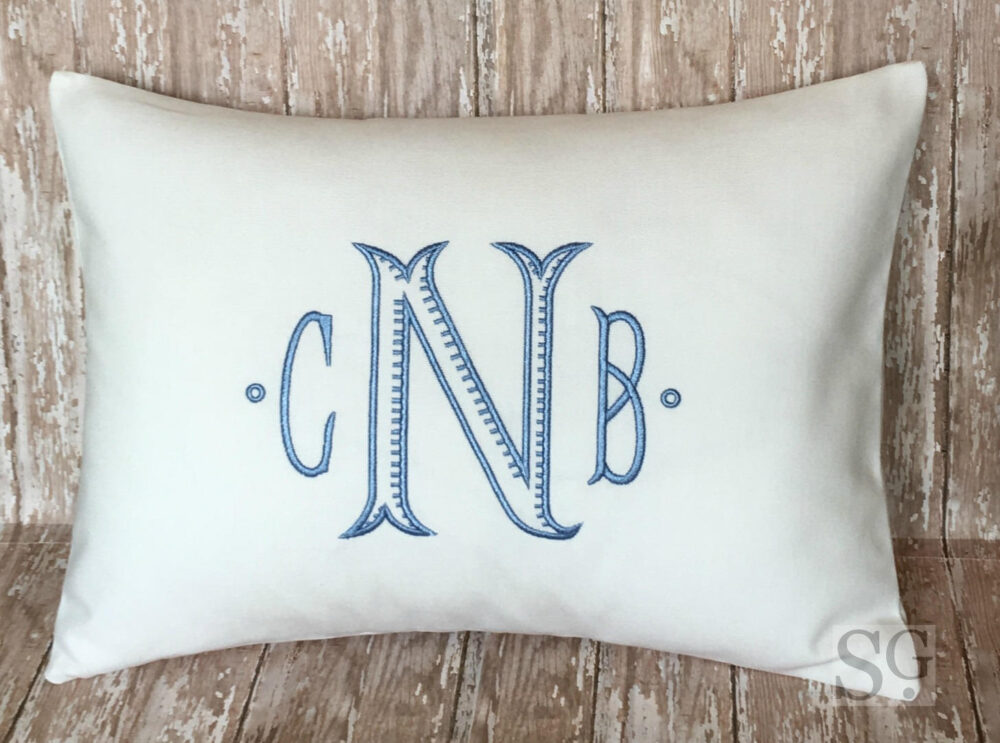 Chinoiserie Monogram Pillow Cover, Personalized Wedding Gift, Custom Baby Lumbar 12x16 Or 18x18