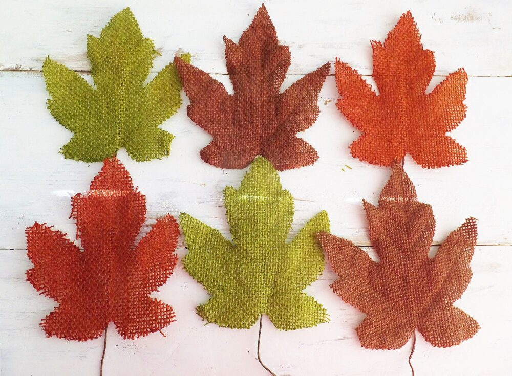 6 Autumn Leaves ~ Burlap Large 5 Inch X 4.5 Leaf Fall Crafts/Decor Mixed Media, Banners, Wreaths Wedding Decorations