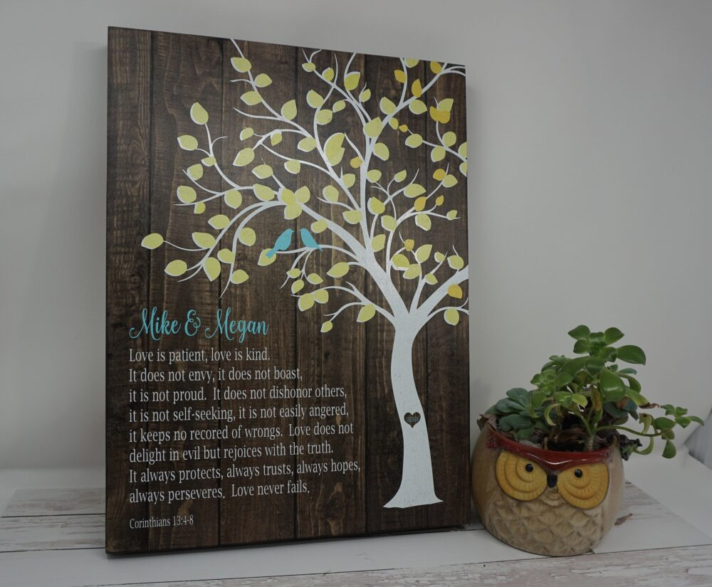 Corinthians 13 - Wedding Sign Anniversary Tree Love Birds Personalized Names Date Gift Wood