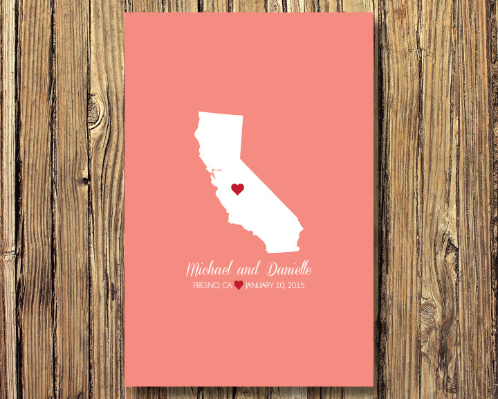 State Map Wedding Art Print-Guestbook Alternative-California Or Any State-Guest Book-Poster Or Canvas-16x20 - 18x24 20x30 24x36-Custom