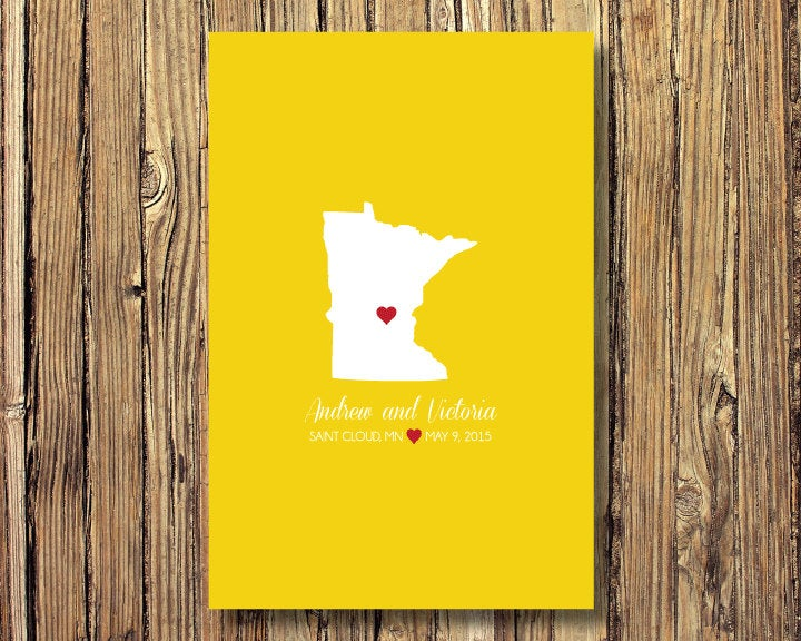 State Map Wedding Art Print-Guestbook Alternative-Minnesota Or Any State-Guest Book-Poster Or Canvas-16x20 - 18x24 20x30 24x36-Custom