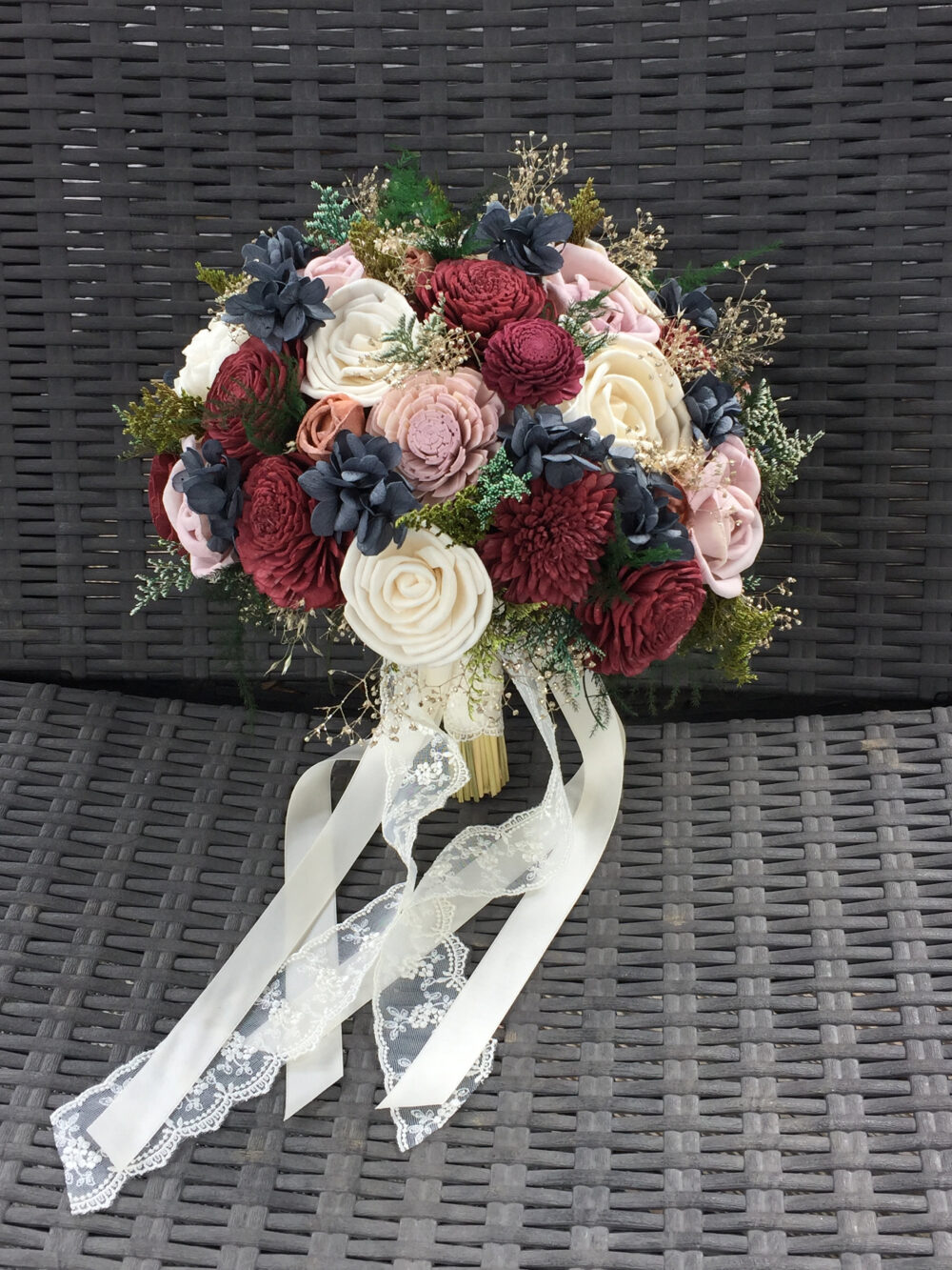 Burgundy, Pink, Navy Wedding Bouquet Made With Sola Flowers - Choose Your Colors Custom Alternative Bridal Bouquet Bridesmaids