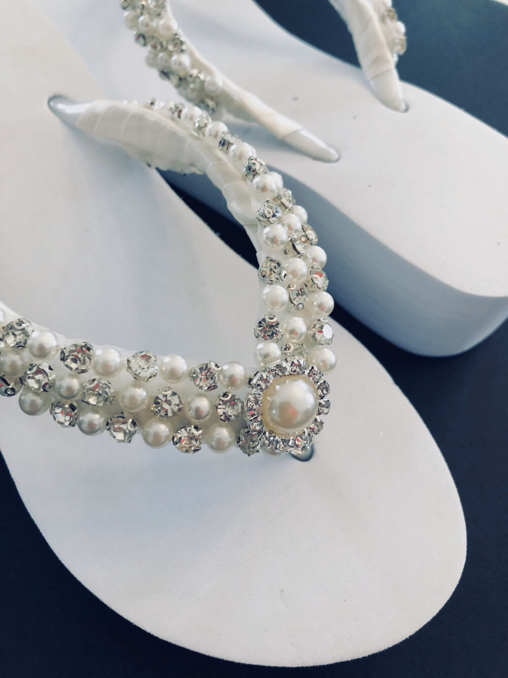 Beaded Bridal Shoe/White Rhinestone Wedged Shoe/Shoes For Beach Wedding/ Flip Flops. Wedding Shoes With Pearls. Custom Shoes