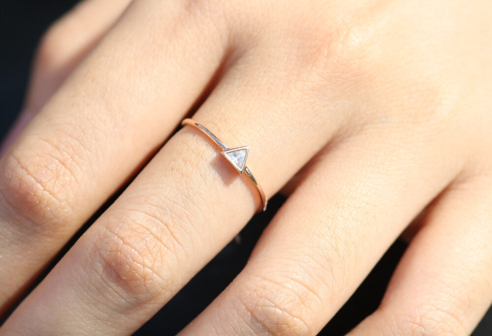 Unique Wedding Rings For Women, 14K Triangle Diamond Ring - Engagement Wedding Ring, Gold, Handmade Rgd-046