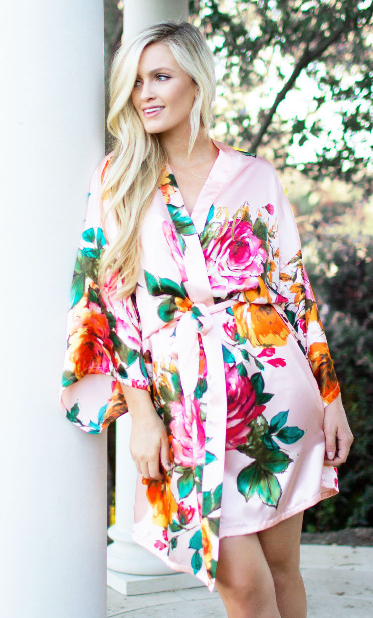 Floral Bridesmaid Robes Wedding Day Bridal Party Robe For Bridesmaids Maid Of Honor | Eb3271M
