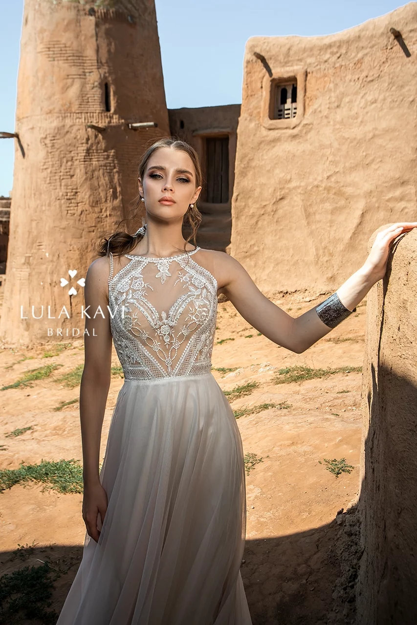 Boho Bohemian Style, Halter Neck, Open Back, Beaded Lace Bodice, & Tulle A Line Chic Modern, Rustic Wedding Dress, Sariah Gown