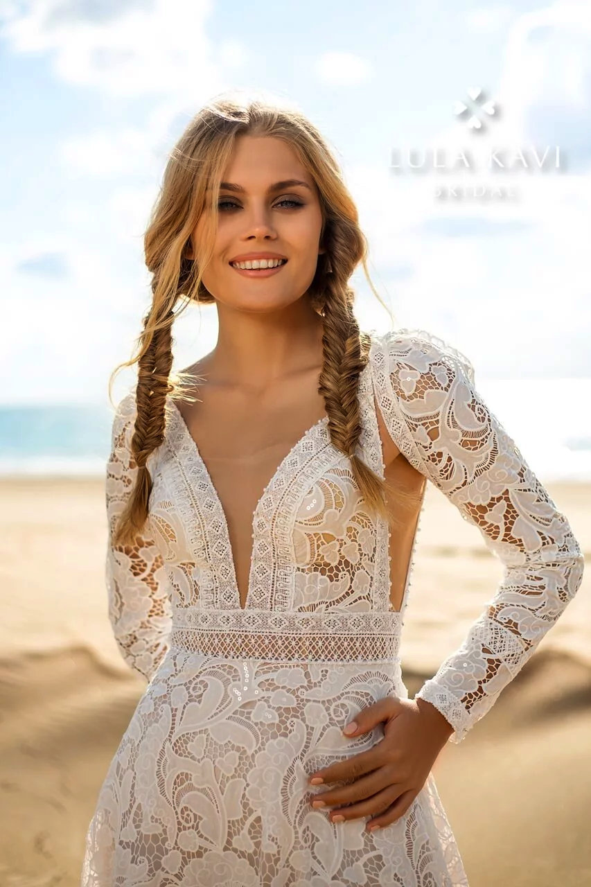 Boho Bohemian Long Sleeves, Open Sided, Plunge Neck, Bakless, Lace A Line, Decorative Lace Trim Chic Modern Wedding Dress, Addana Gown