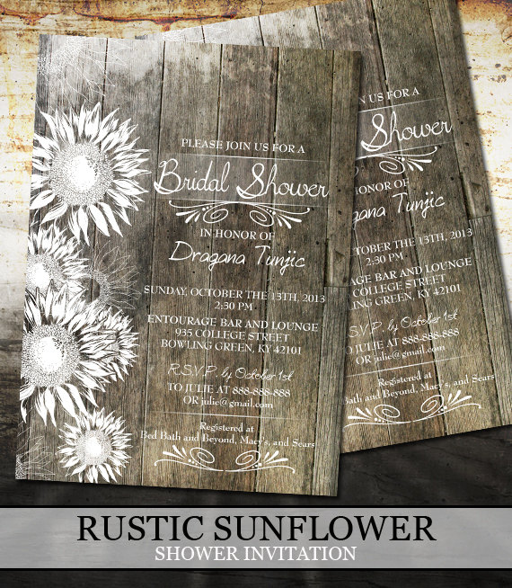 Rustic Sunflower Bridal Shower Invitations - Wedding | Diy Or Printed Printable Bridal Shower Invitations