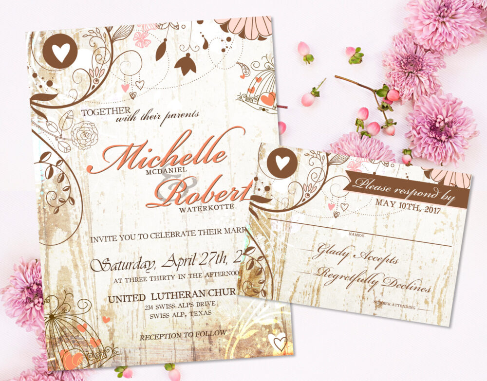 Rustic Chic Wedding Invitation Floral For A Wedding, Country Wood & Printable Invites Diy