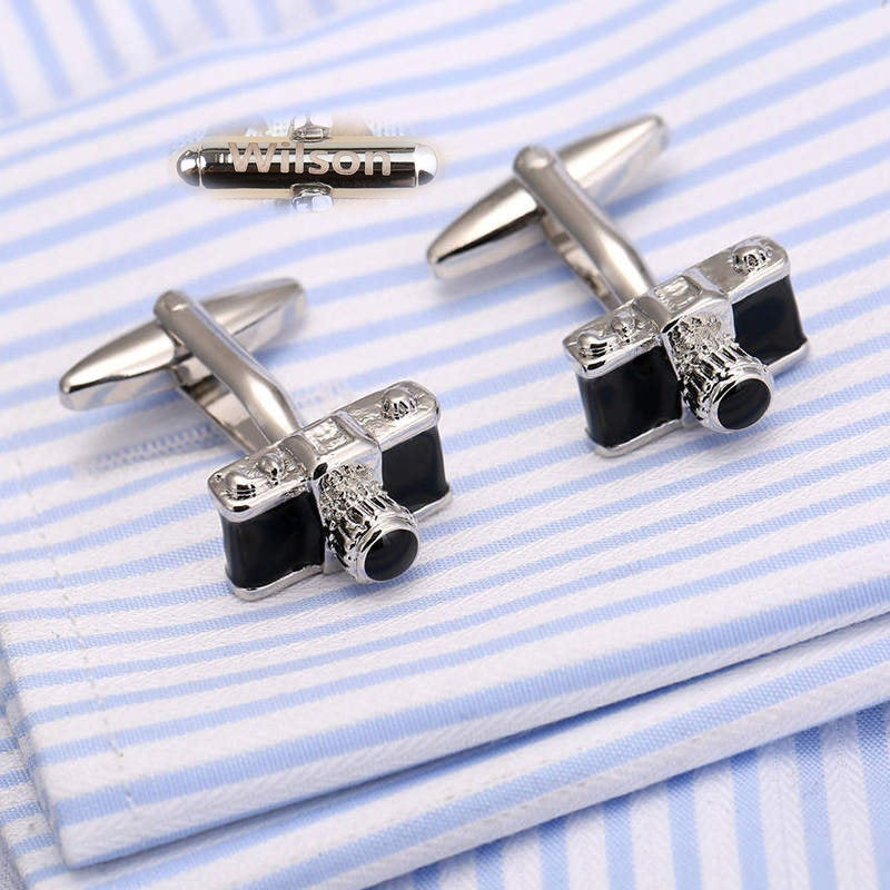 Personalized Cufflinks.initials Engraving.camera Cuff Link.photo Cufflink.camera Cufflink.photographer's Link.lycra Camera Cufflinks