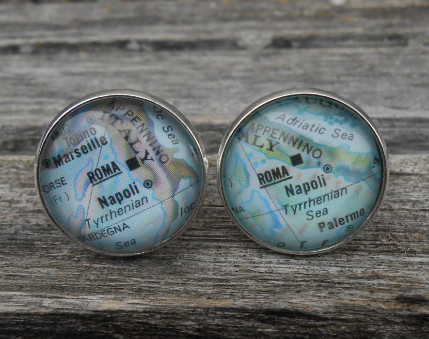 Vintage Map Rome, Italy Cufflinks. Unique Gift, Wedding, Groom, Birthday, Custom Orders Welcome. Travel