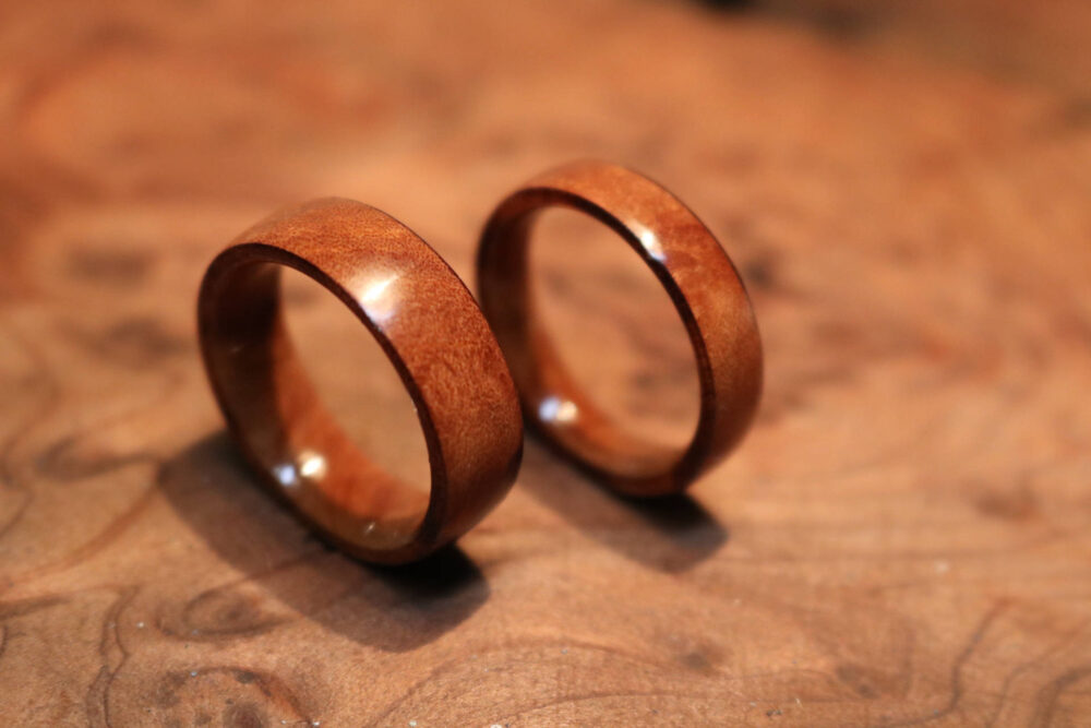 Wooden Rings, Wood Ring Set, Madrone Band Rings, Band, Burl Wood Wedding Ring, Rings
