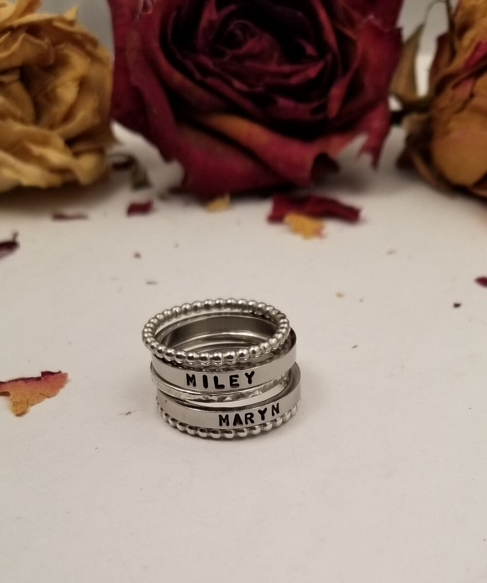 Sterling & Stainless Mix Metal Stackable Name Ring Bands - Mother Grandmother