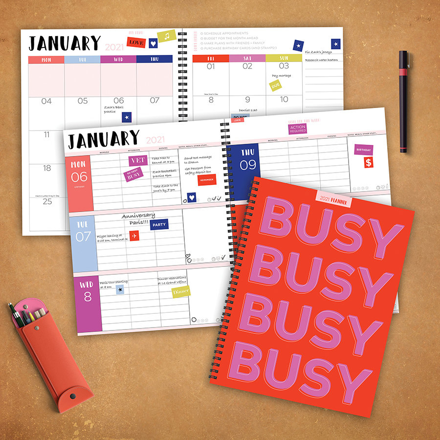 """2021 Busy Large Daily Weekly Monthly Spiral Planner + Coordinating Planning Stickers - 8.5""""x11"""""""