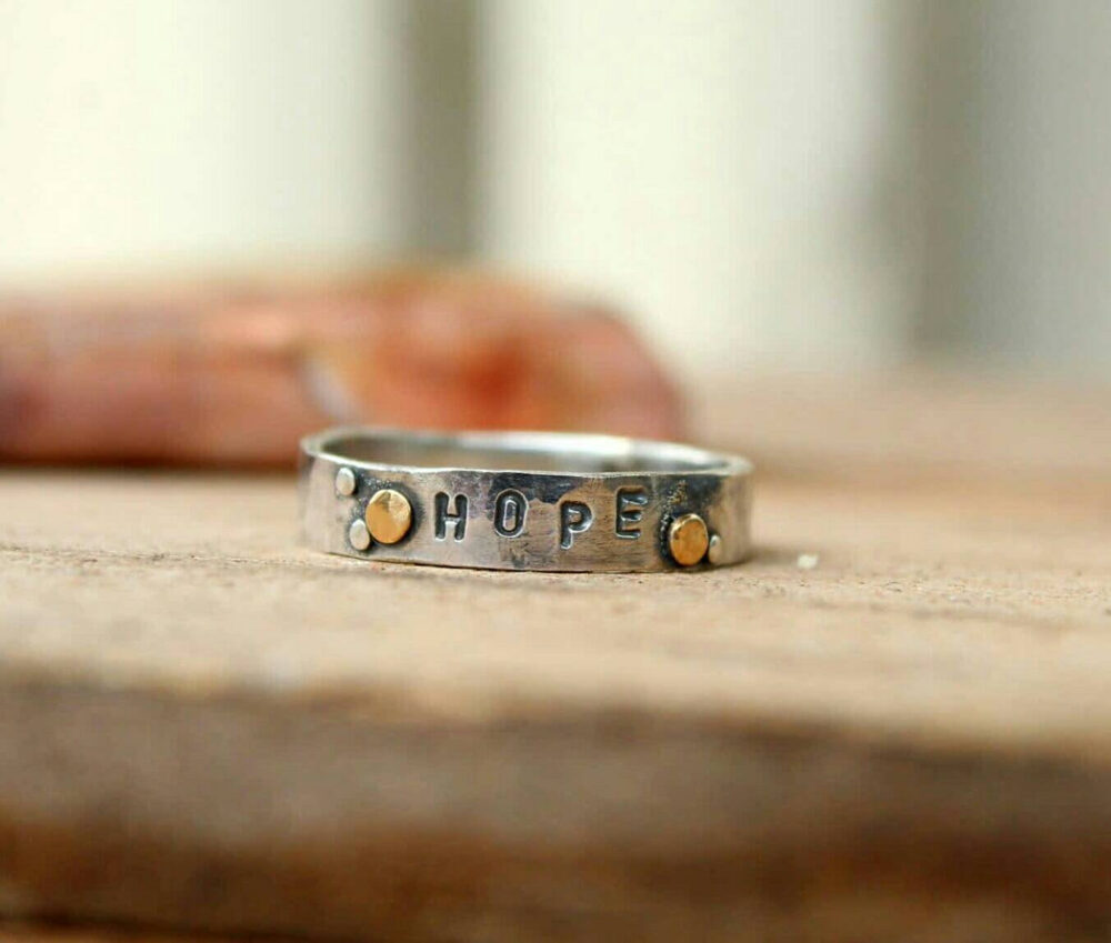 Hope Sterling Silver & 14K Gold Hammered Band Ring
