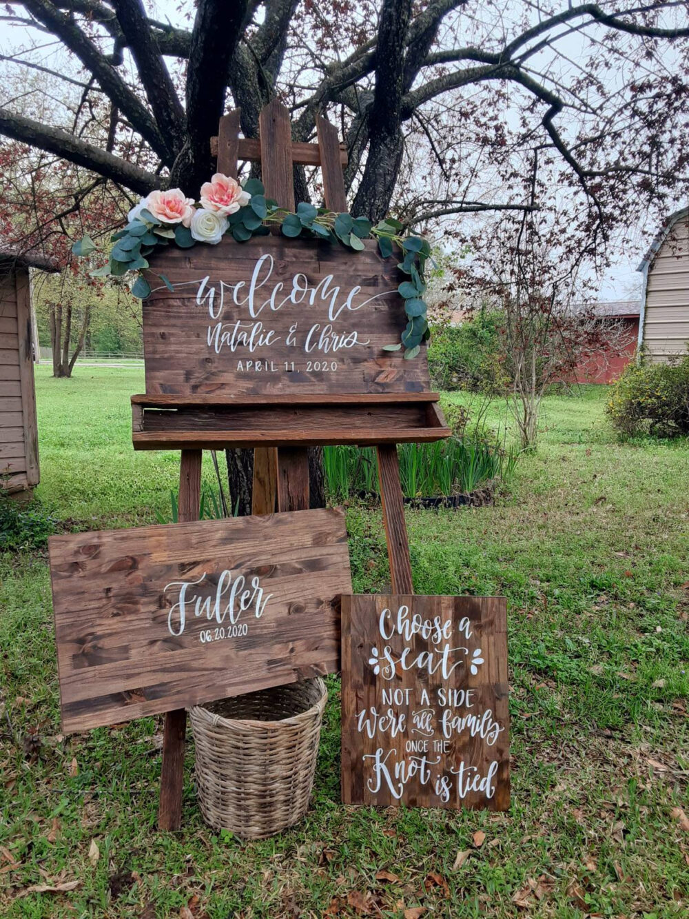 3 Piece Wedding Package Set // Guest Book Board Welcome Sign Seating Rustic Wood Signs Ceremony Hand Lettered