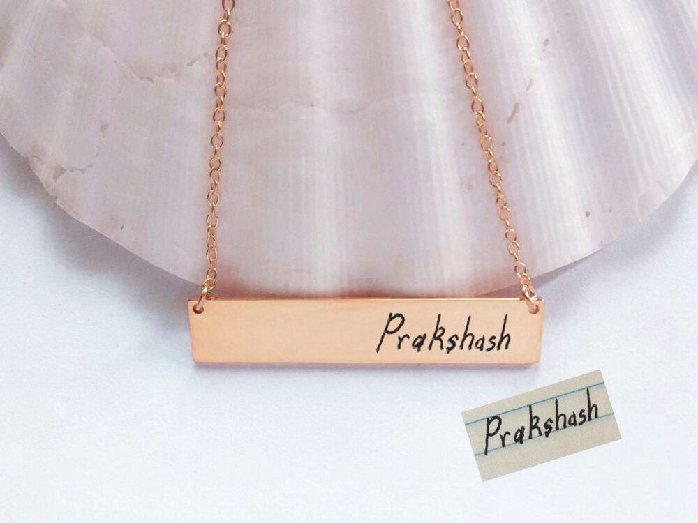 Handwritten Bar Necklace, Rose Gold Handwriting Necklace, Engraved Signature Necklace, Name Plate Necklace, Custom Memorial Bar Necklace
