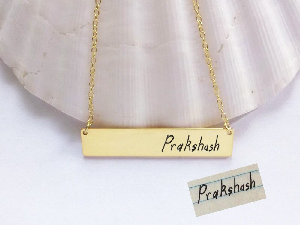 Gold Handwriting Necklace, Handwritten Bar Necklace, Engraved Signature Necklace, Personalized Name Plate Necklace, Custom Memorial Bar Necklace