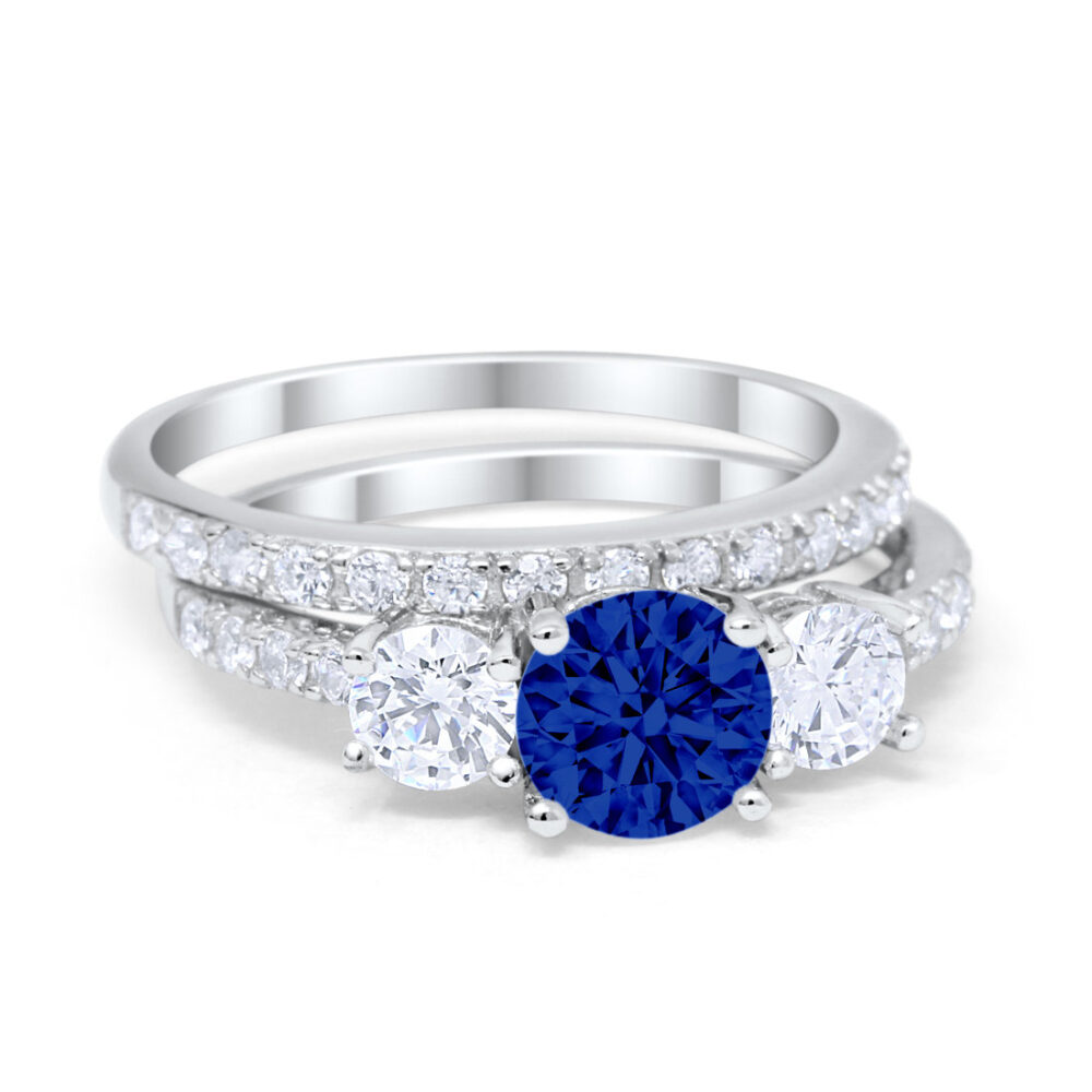 3-Stone Three Stone Sapphire Cz Wedding Band Engagement Ring Bridal Set Solid 925 Sterling Silver Round Simulated Diamond