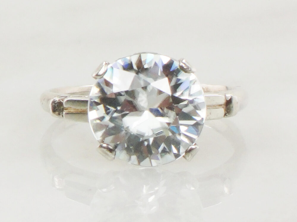 Vintage Engagement Ring Sterling Silver White Zircon 1940's Statement Large