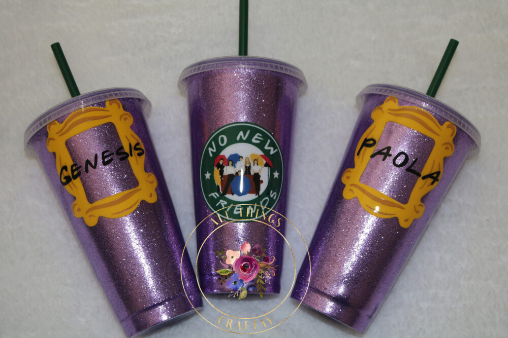 Friends Themed Purple Door With Frame & Personalized Name Glitter Starbucks Venti Plastic Tumbler
