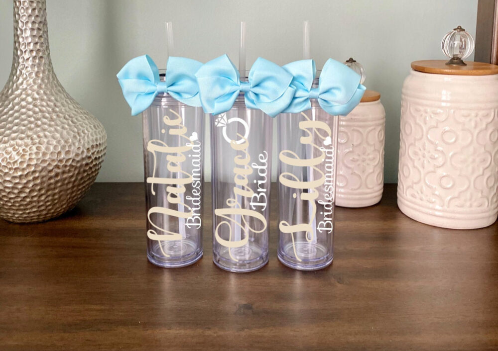 Glitter Bridesmaid Tumbler, Wedding Gift, Custom Favor, Personalized Bachelorette, Proposal Box, Bridal Party Cup, Name Bow Heart Ring