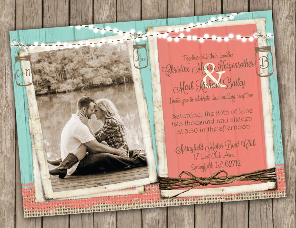 Coral & Turquoise Wedding Invitation, Country Wedding, Mason Jar Lights, Rustic, Burlap Lace Invitation