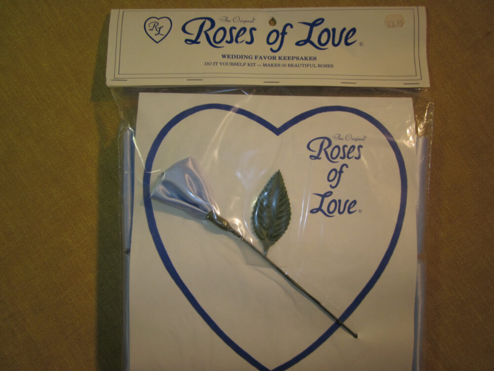 Roses Of Love, Wedding Favor Kit , 50 Make Yourself Roses, Light Blue Satin Fabric, Made in Goldsboro Nc