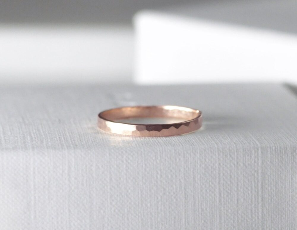 14K 2mm Rose Gold Band, Hammered Rose Gold Ring, 2mm Band, Stacking 14K Faceted Recycled, Preorder