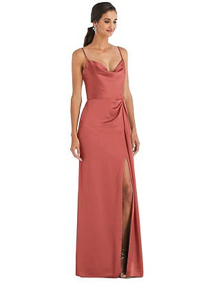 Special Order Cowl-Neck Draped Wrap Maxi Dress with Front Slit