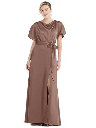 Special Order Cowl-Neck Kimono Sleeve Maxi Dress with Bowed Sash