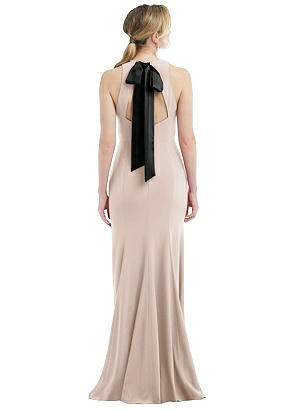 Special Order Cutout Open-Back Halter Maxi Dress with Scarf Tie
