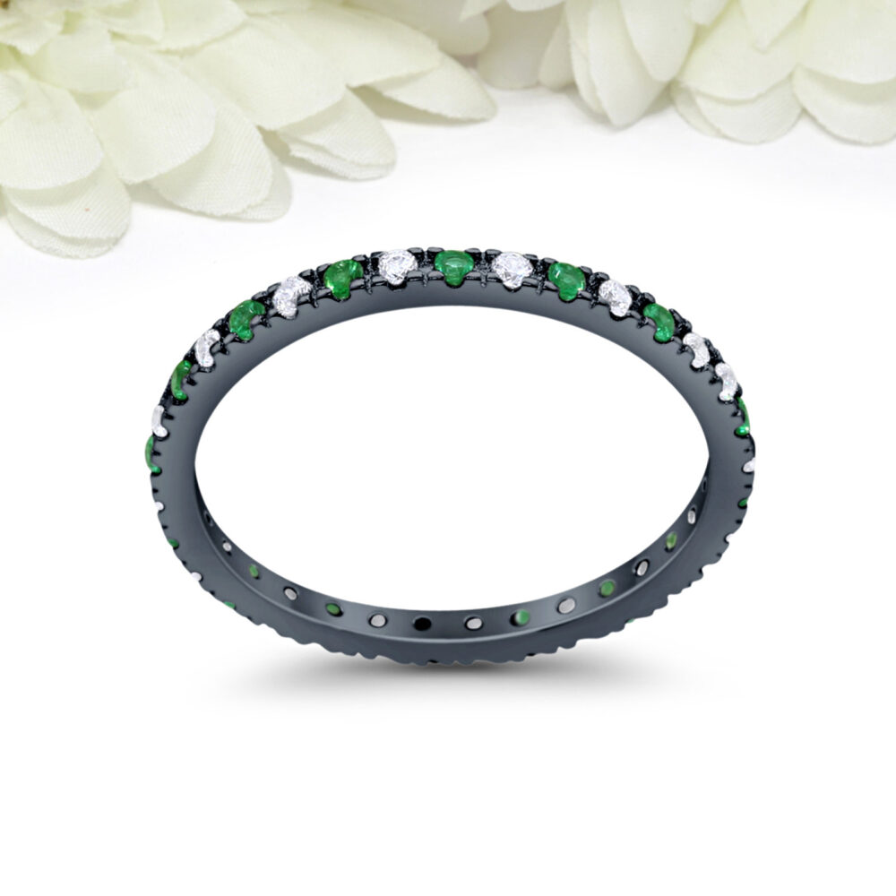 2mm Full Eternity Round Emerald Wedding Band Ring Alternating Cz Simulated Diamond Black Gold 925 Sterling Silver