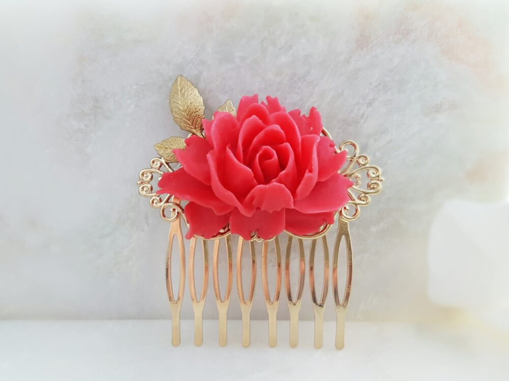 Red Rose Hairpin, Red Flower Hair Comb, Gold Leaf Clip, Bright Floral Haircomb, Decorative Barrette Slide Lotus Bridal Party Gift H2007
