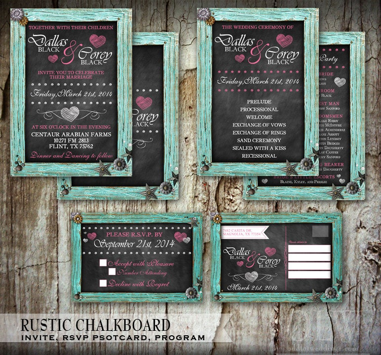 Chalkboard Wedding Invitation Set - Chalk Stationery Rustic Wood Frame & Hearts Diy
