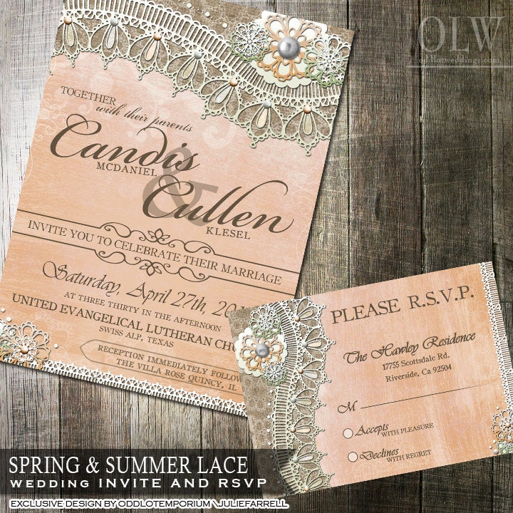 Rustic Lace Wedding Invitation & Rsvp Card Peach Mint Flowers With Burlap Lace Great For A Country Wedding