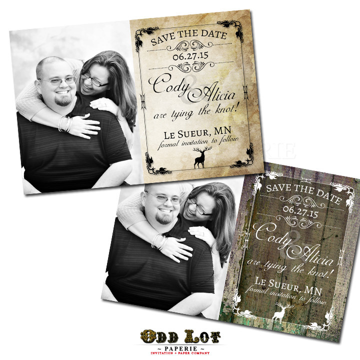 Rustic Save The Date Postcard Deer Stag Photo Wedding Announcementdigital Or Printed Fall Woodland Invitation Kraft Camouflage