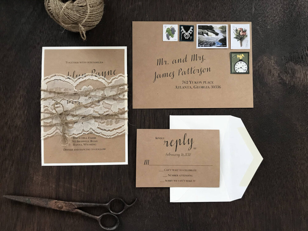 Rustic Wedding Invitation Set, Vintage Invitation, Calligraphy Elegant Lace