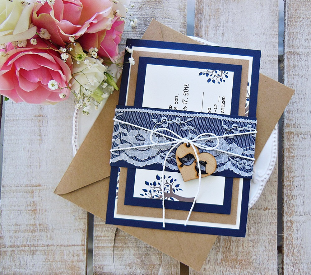 Custom Wedding Invitation Set, Navy Blue Invitation, Lace Rustic Elegant Modern Assembled Vintage