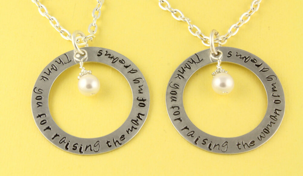 Thank You For Raising The Man Or Woman Of My Dreams Necklaces - Wedding Mother in Law Necklace Set Handstamped Personalized Combo