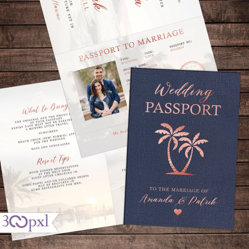 Destination Wedding Passport Invitation Set, Set Boarding Pass, Travel Wedding, Rose Gold & Blush, Watercolor