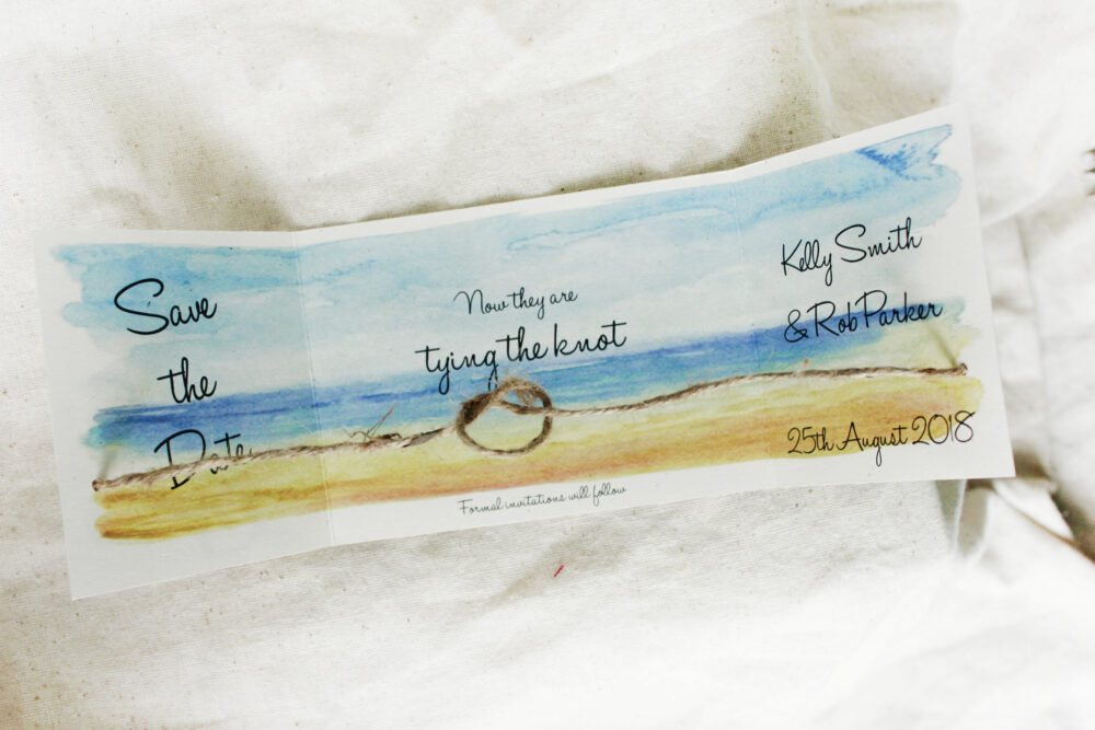 Beach Save The Dates Set Of 25, Destination Wedding Announcements, We Eloped Tying Knot Date Card, Beach