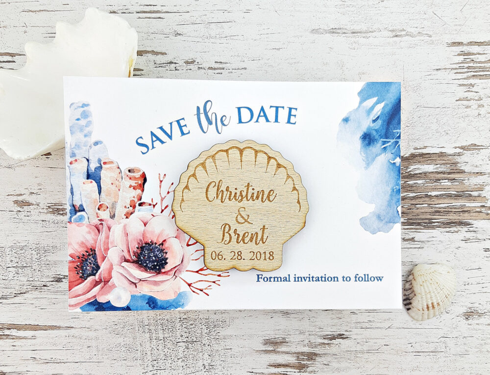 Seashell Save The Date Magnet Beach