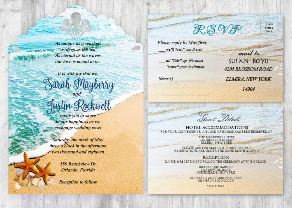 Beach Theme Wedding Invitations - Qty 25 Starfish Destination Invites Include Envelopes, Rsvp, Guest Cards & Rsvp Response
