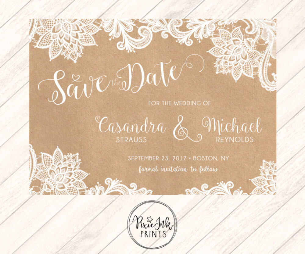 Lace & Kraft Save The Date, Wedding, Printable, Date Wedding Printable