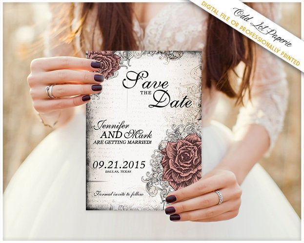 Elegant Rose Save The Date Wedding Announcement Card & Lace Vintage Old World Wedding, Any Color, Printable