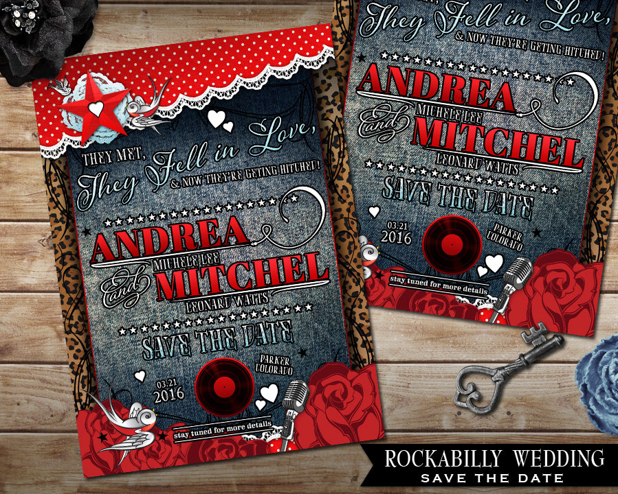 Rockabilly Wedding Save The Date Card, Polka Dot & Lace, Offbeat Invite, Denim Invite With Roses, Records Hearts Diy