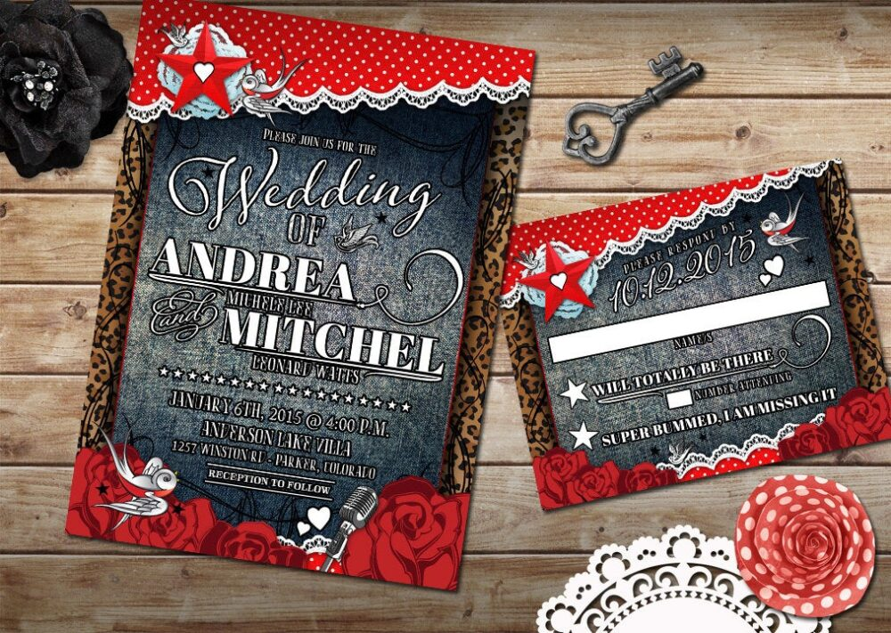 Rockabilly Wedding Invitation Set, Offbeat Wedding, Red & White Polkadot, Denim Lace, Diy