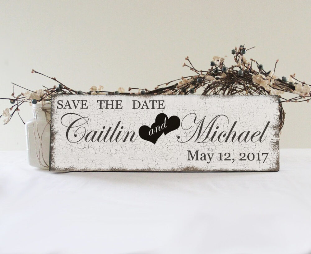 Save The Date Custom Engagement Sign, Prop, The Wedding Vintage Style Sign