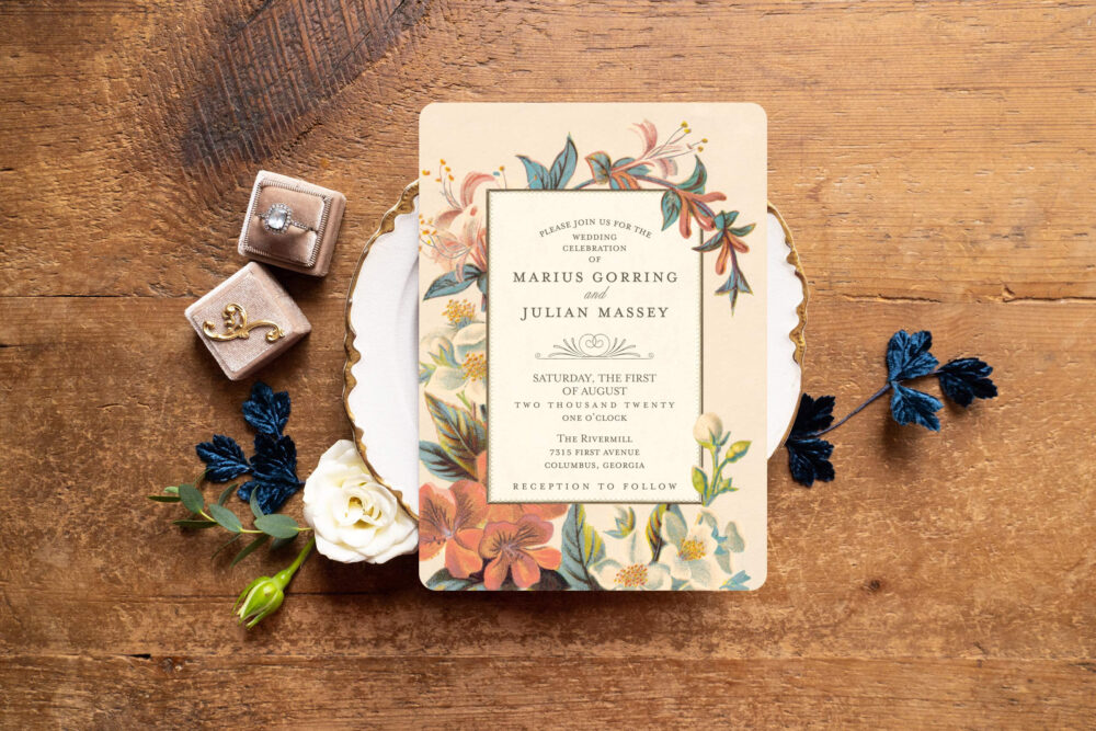 Botanical Wedding Invitation, Floral Invitations, Garden Dusty Blue Vintage Invitation